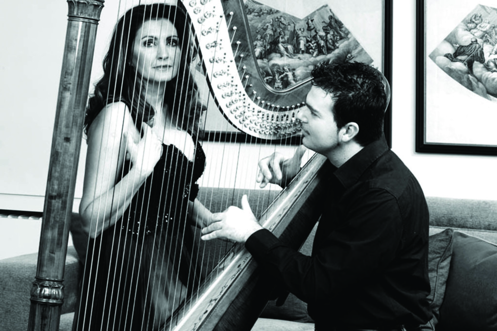 Parma (Italy), 25/02/2009 - The soprano Paola Sanguinetti at home with the harpist Davide Burani - photo by Edoardo Fornaciari / GraziaNeri